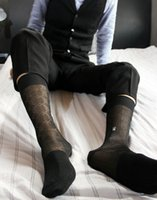 Wholesale big dimond plaid tnt stockings mens sexy transparent long compression knee socks classical leather shoe gentlemen fashion sox