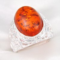 amber shine - Luckyshine Special Gift Jewelry Fire Shine Oval Red Amber Gem Sterling Silver Plated Rings Russia Australia USA UK Wedding Rings Jewelry