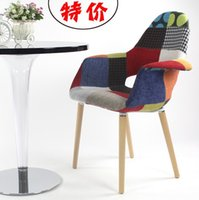 beech dining furniture - Simple Ikea solid wood dining chair beech fabric chair European Style coffee chair chair of study room armchair color