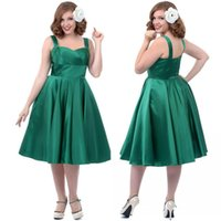 Wholesale Simple Green Spaghetti Straps Short Plus Size Prom Dresses Satin Sleeveless Knee Length A line Zipper Wedding Party Girls Dress Gowns