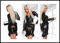 Cheap sexy Fantasia Sex Products Stripper Pole Latex Catsuit Women Clothing Costumes Fetish PVC Dress