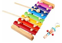 Wholesale Melody Xylophone and Whistle Baby s Early Education Wooden Musical Instrument Toys Trailer Scales cm