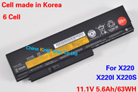 Wholesale 5600mAh Korea Cell Original Quality New Laptop Battery for Lenovo ThinkPad X220 X220I X220S A36283 T4865 T4866 WH CELL