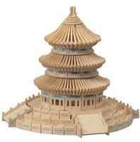 Wholesale The temple of heaven sent the tape d wooden jigsaw puzzle DIY assembled educational toys children manual model NO266