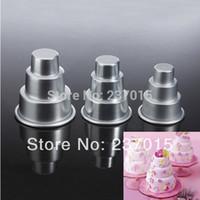 cake tins - 3pcs Mini Tier Cake Baking Pan Tin Sugarcraft Tools Decorating Aluminum Pastry Mold Set