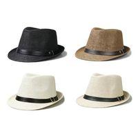 Wholesale Hot Sale Trendy Unisex Fedora Trilby Gangster Cap For Women Summer Beach Sun hats Straw Panama Hat Men Fashion Jazz Hats