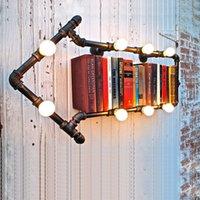 bedside bookshelf - Vintage Loft Luminaria Banheiro De Mesa Water Pipe Wall Lamp Industrial Bookshelf Wall Lights Bedroom Bedside Wall Sconce order lt no track
