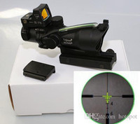 Wholesale 2015 High Quality ACOG X32 Red Fiber Source Illuminated Trijicon ACOG Telescopic Sights Gun Sight Laser Sight Monocular