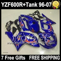 Wholesale 7gifts Tank For YAMAHA YZF600R Thundercat Red flames YZF600 R S17 YZF R Red flame blue Fairing