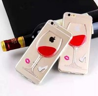 liquid silicone - 3D Red Wine Cup Liquid Flowing TPU Case Cover For Apple iPhone iphone plus inch Phone Cases Back Covers