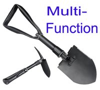 Wholesale Portable Mini Multi function Outdoor Three Folding Shovel Spade Pickax for gardening Camping Exploration Survival Tool