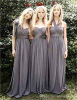 Wholesale 2016 Wendy Grey Bridesmaid Dresses Favorable Convertible A Line Three Styles For Choice Sweep Train Chiffon Junior Bridemaid Girls Dre