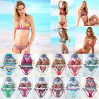 Wholesale 2015 Sexy Bohemia Bikini Set Halter national wind printing Mix Order Ladies Swimwear many Color Women Suimsuit