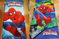 Wholesale 75 cm New spiderman Towel design cotton towels bathroom children beach towel kids bath towel D106
