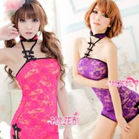 Cheap sexy Hot Women Bandeau Sheer Cheongsam Floral Print Lace Backless Lingerie Babydoll Costumes Underwear Rose Purple Free Shipping 4027