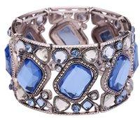 bracelets wholesale cheap bangles - Cheap Bangle Bracelets for Women Zinc Alloy Silver Wide Stretch Bracelet Square Blue Acrylic Glass Bangles BL150046