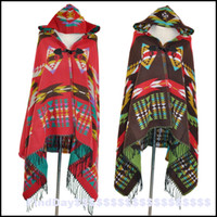 air conditioned hat - P Bohemia folk style hooded cloak cloak shawls Cape Horn Button hat scarf thickening air conditioning