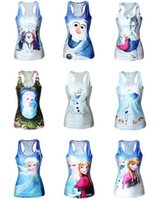 Wholesale Frozen Snow Queen Ladies Tees Elsa Anna Olaf Cartoon Printed Women s Tanks Big Girls Sleeveless Vest Camis Tops Clothing Styles