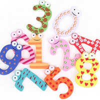 Wholesale 2 Set of Number Large Cartoon Educational Toy Wooden Fridge Magnet for Baby Kid