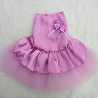 baby poodles - Pet dog dress wedding dress Teddy VIP puppy satin tutu skirt for baby lady Poodle summer day beauty dress with button on the back