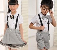 school clothes - For Big Boys Girls Clothes School Uniforms Kids Outfits Summer Korean Children Clothing Shirts Striped Shorts Pants Skirts I3099