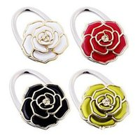 Wholesale 2016 new rose flower handbag hanger Purse Hook foldable Bag Holder wedding party gift