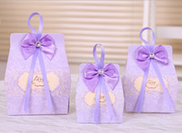 candy bag - In stock pink lavender bow paper wedding favors hot sale vintage candy box party favors with bowknot ribbon candy bags