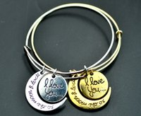 achat en gros de j'aime bracelets-Bracelet pendentif de mode Alex et Ani i vous aiment la lune et bracelet pendentif retour