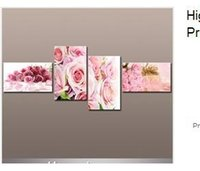 Cheap High Quality 4pcs set Huge Art of Beautiful Rose Flower Painting Modern Canvas Pure hand-painted Home Office Decoration