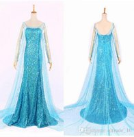Wholesale DDA3754 Snow Queen Frozen Elsa Queen Princess Adult Women Evening Party Dress cosplay Costume Elsa Dresses