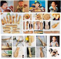 Wholesale Cartoon Baby Feeding New Zakka Creative Animal Nature Healthy Kids Hot Wooden Spoons Infant Spoon Teaspoon Tableware Cutlery Tools
