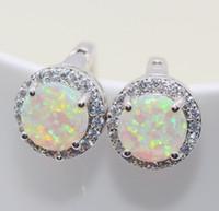 belle cuffs - Belle gros bijoux agréablement surpris blanc orange bule opale de feu Zircon boucles d oreilles en argent