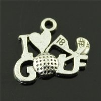 antique golf - Antique Silver I Love Golf Charms Pendants for Jewelry Making Floating Charm Handmade DIY mm