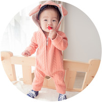 baby outer wear - Brand fall style cute baby rompers long ears rabbit baby hooded jumpsuit infants rompers newborn cotton outer wear M