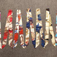 Wholesale 500 DHL Summer Style Imitation Silk Scarf Women Twilly Ribbon Print Bags Handle Decoration Bow Wrapping Printed Headwear