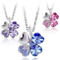 swarovski - 3PCS MIXED colors Petal crystal necklace Tanabata gift necklace female jewelry Swarovski Clover crystal necklace pendants