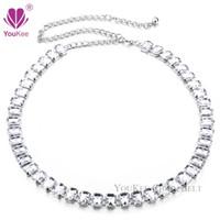 Wholesale Luxury Big Clear Rhinestone Women Chain Belt Crystal Metal Apparel Accessories Wedding Cintos Femininos BL YouKee Belt