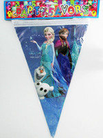 Wholesale Frozen Pennant Cartoon movie Elsa Anna kid child girl boy baby happy birthday party decoration flags kits supplies favors long M