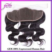 Wholesale Brazilian Lace Frontal x4 quot Bleached Knots Brazilian Virgin Hair Body Wave Full Lace Frontal GEM Beauty Hair Wavy Soft b