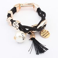 american retro pearl jewelry - Brand vintage fashion statement leather bracelet for women new retro pearl charm bracelets bangles jewelry SL085