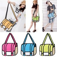 Boston Bags Women Plain Hot Sale!! 3D Jump Style 2D Drawing From Cartoon Paper Bag Comic Messenger Bag fashion shoulder bag for women 4 Colors Free Ship