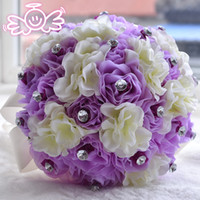 Wholesale Luxury Bridal Wedding Bouquet IN STOCK Pink Wedding Decoration Artificial Bridesmaid Flower Crystal Pearl Silk Rose WF017