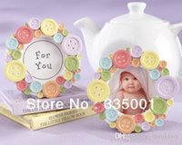 Wholesale Factory directly sale baby shower quot Cute as a Button quot Round Photo Frame
