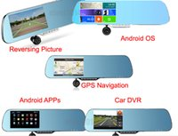 "Cheap 5"" Android 4.0 Car Rear view Mirror Navi Car dvr Car Rear View GPS logger GPS 1080P DVR Wifi Backup Camera"