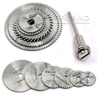 Wholesale 7Pcs HSS Rotary Tools Circular Saw Blades Cutting Discs Mandrel Cutoff Cutter Power tools multitool C10