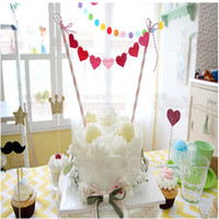 Wholesale New Decorative Flags Baby Kids Birthday Cake Topper Party Supplies Cupcake Decorating Tools Baking Station Inserted Card
