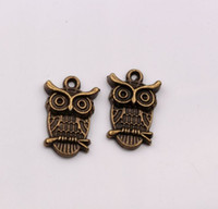 Wholesale Hot sell Fashion Antique Bronze Owl Charms pendants DIY Jewelry x14x4mm