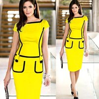 career wear - Hot Career Ladies Formal Working Dress Slim Patchwork Knee length Women Work Bodycon Pencil Dresses Wholesales OXL13179