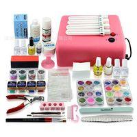 Wholesale Nail Tools Kit Phototherapy Manicure Tool Set w Pink Uv Lamp colors UV Gel Nail Art Set Cleanser Plus Painting Brush Pen Nail Glue