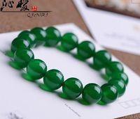 Wholesale 12mm Genuine natural ice kinds of green agate crystal bracelet